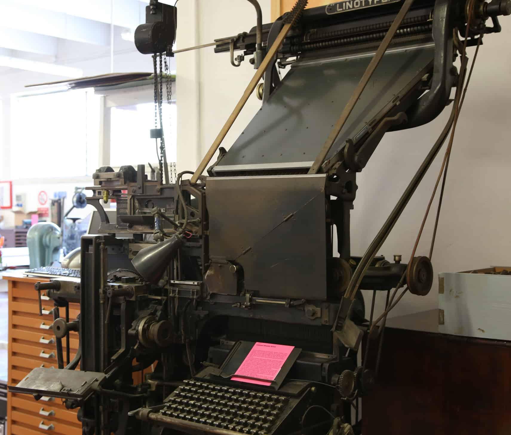 Linotype delle Officine Meccaniche Edoardo Grioni.