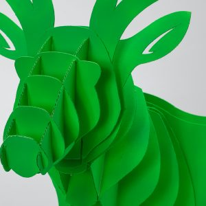 Cervo, versione originale col. verde, dettaglio. Tipografia Unione, papercut.