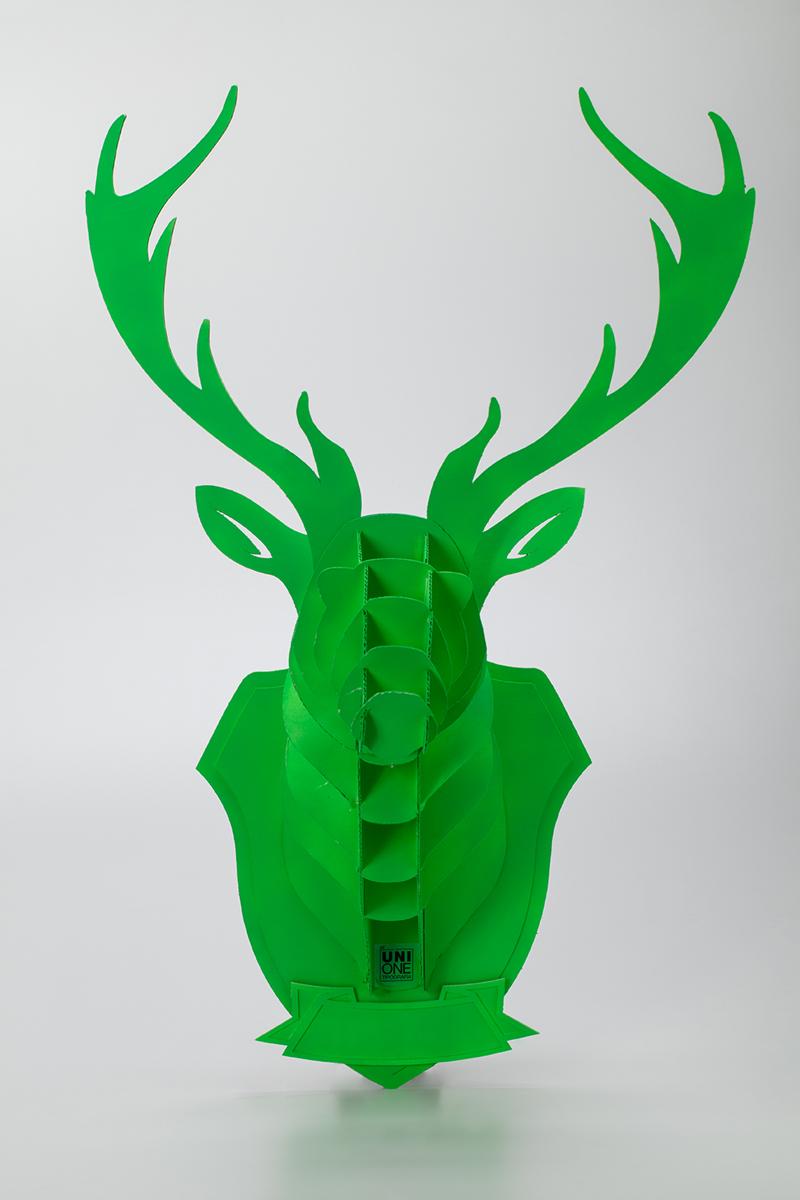 Cervo, versione originale col. verde, vista frontale. Tipografia Unione, papercut.