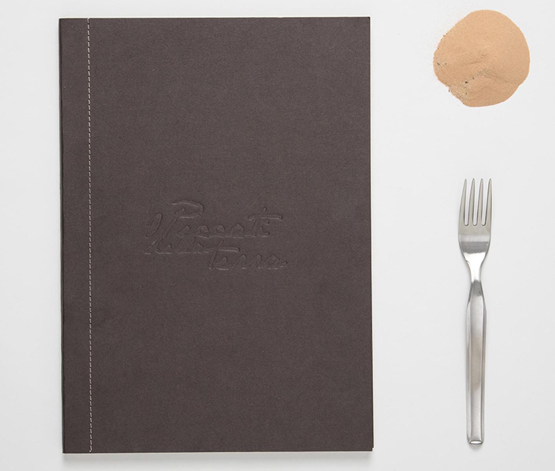 I Peccati della Terra, copertina del menu. Tipografia Unione, Piccoli Stampati.