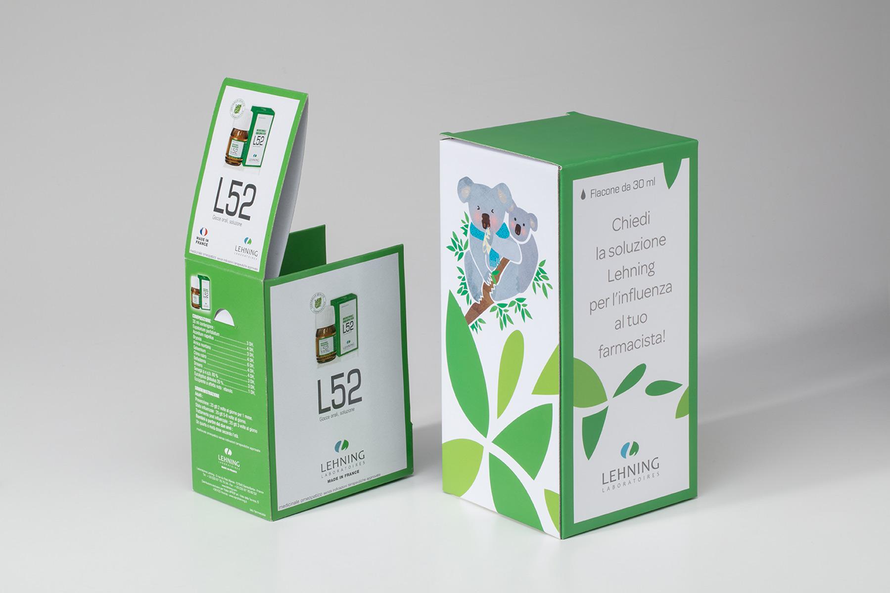 Packaging per prodotti omeopatici Lehning-Viprof. Tipografia Unione, packaging farmaceutico, Vicenza.