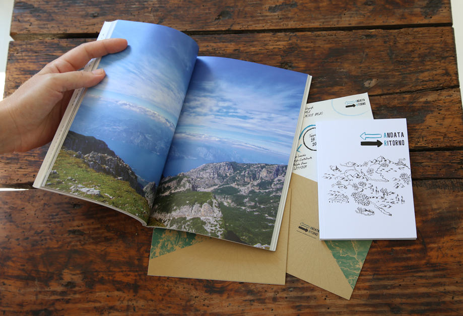 Interno del libro Volare Alto con foto a doppia pagina.
