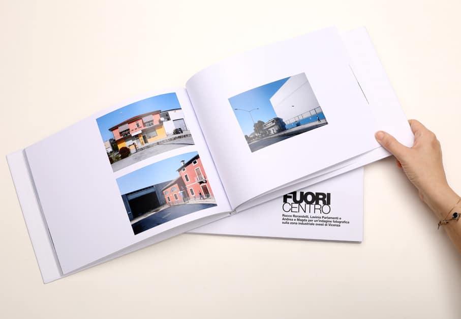 Tra i nostri progetti di editoria il catalogo fotografico Fuori Centro. Tipografia Unione, Vicenza.
