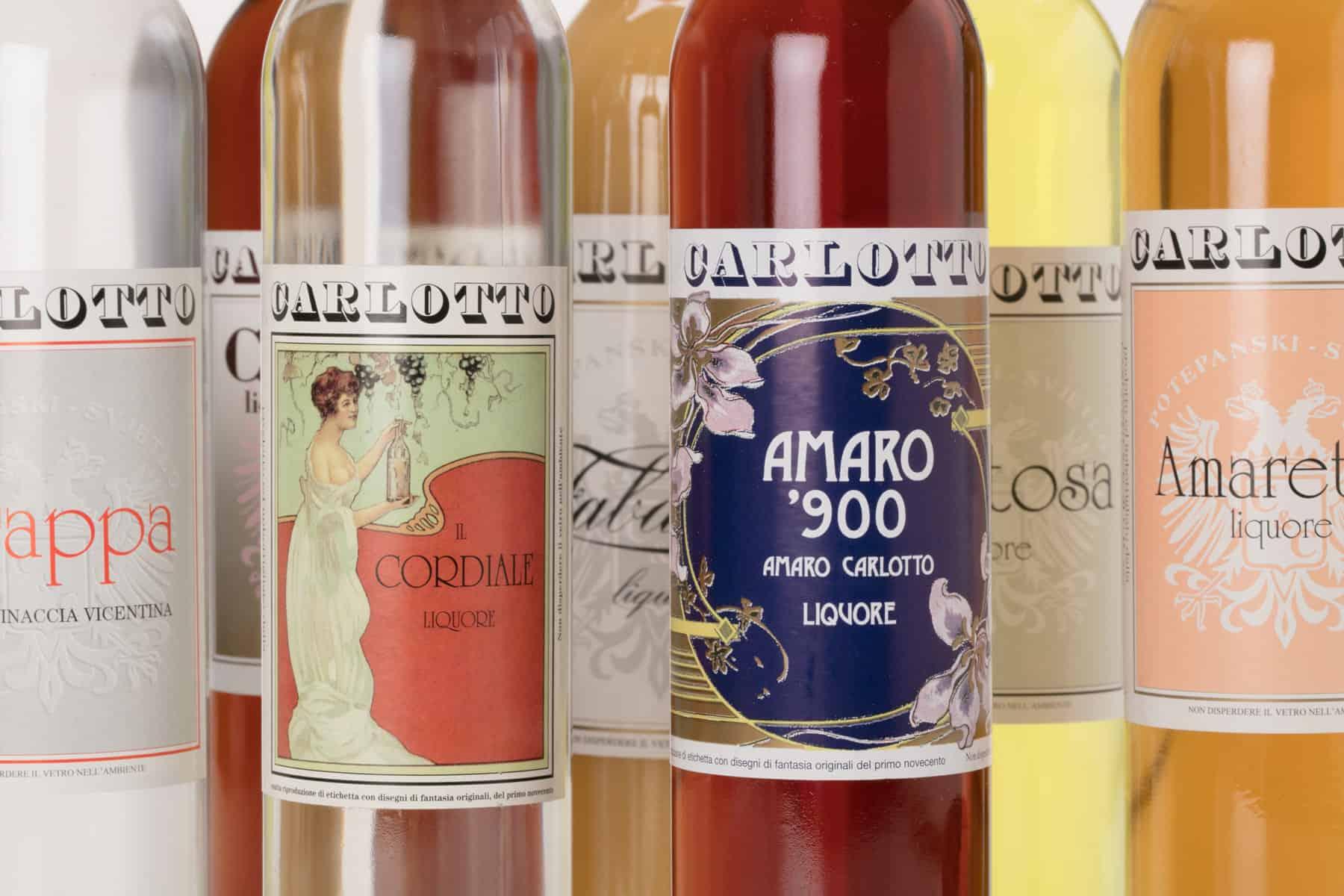 Carlotto Liquori, dettaglio delle etichette. Tipografia Unione, piccoli stampati.