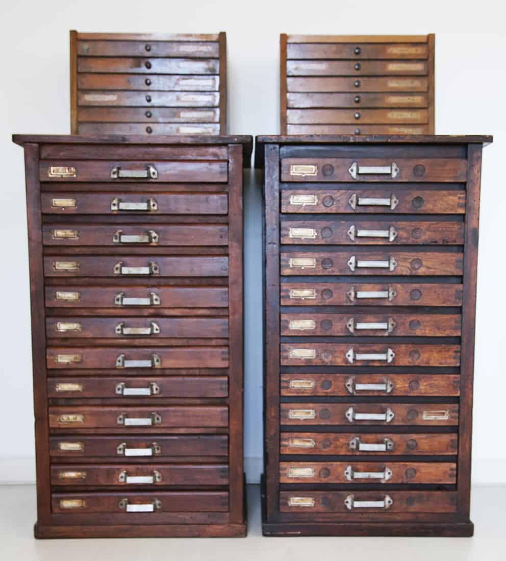 Cassettiera o cassa tipografica in legno. Tipografia Unione, Vicenza, museo.