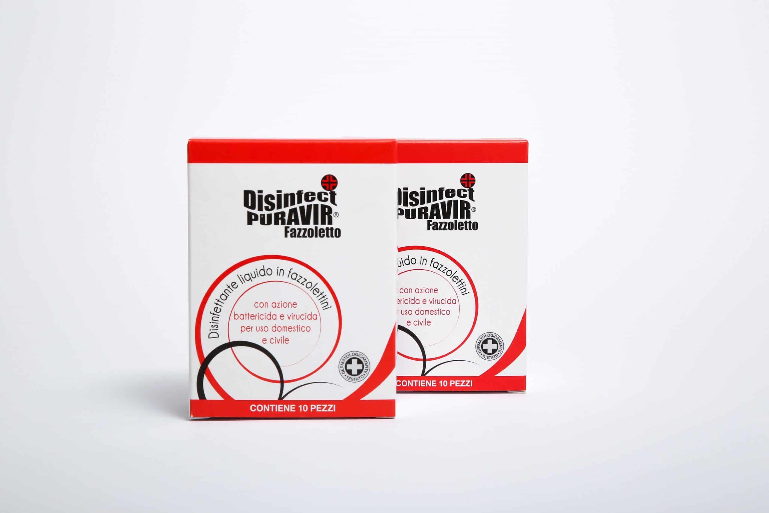 Packaging per fazzoletti disinfettanti, Disinfect Puravir, conf. da 10. Tipografia Unione, Vicenza.