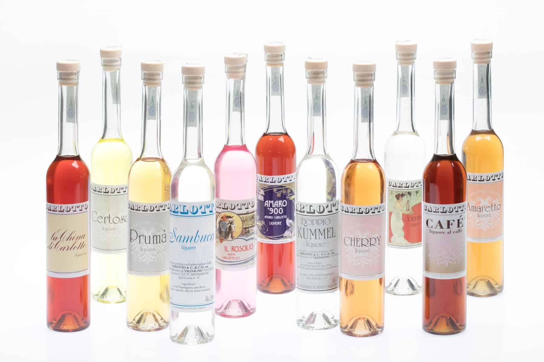 Carlotto Liquori, etichette realizzate per la linea di liquori. Tipografia Unione, stampati di piccolo formato, Vicenza