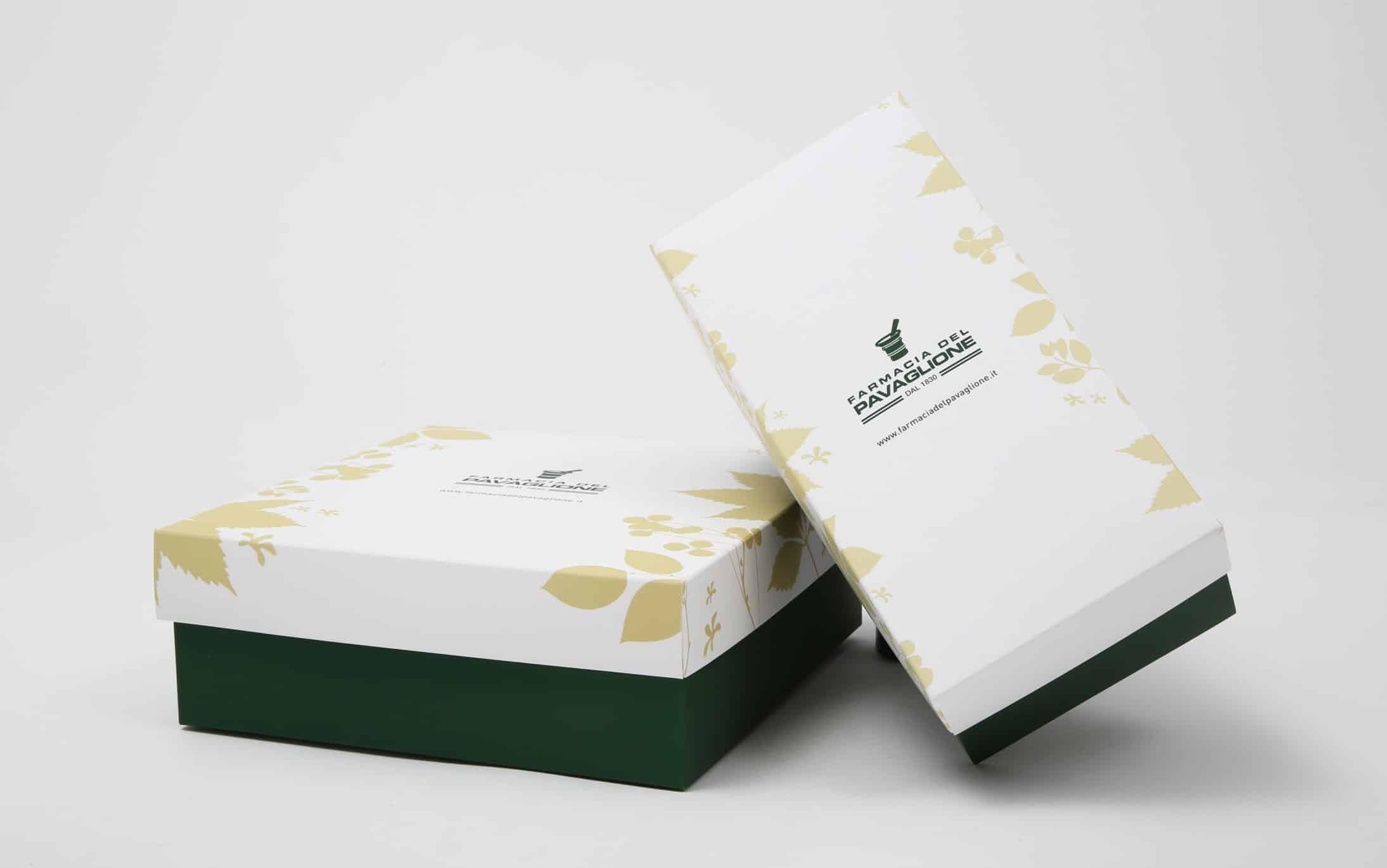 Farmacia del Pavaglione, doppia confezione. Tipografia Unione, packaging, Vicenza.