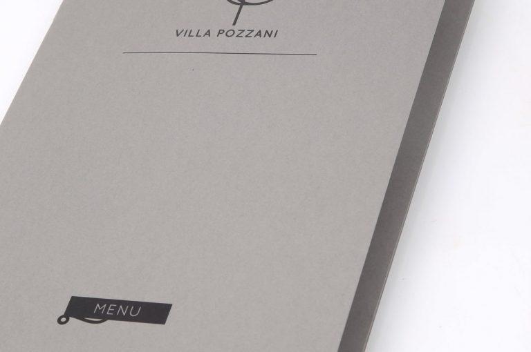 Menu Villa Pozzani in carta Sirio, copertina. Stampati di piccolo formato. Tipografia Unione, Vicenza.