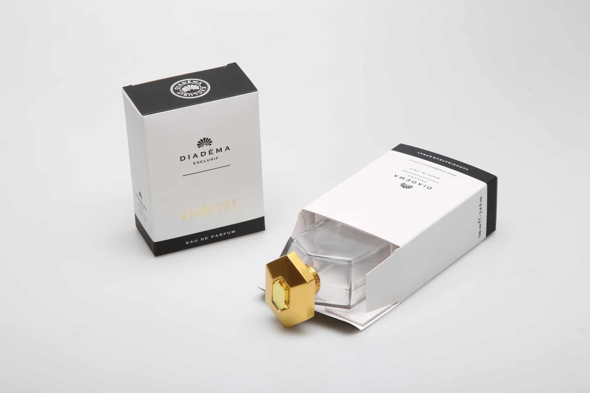Qbanhera di Diadema Exclusif, scatola aperta e boccetta. Tipografia Unione, astucci per profumi, Vicenza.